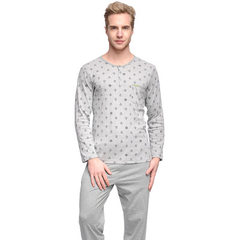 Floral umbrella men`s pure cotton home wear fashionable printed grey round collar long-sleeved pants Flowers gray/black l