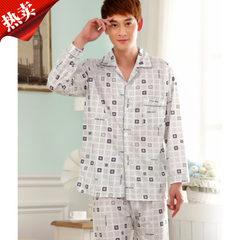 Spring long-sleeved men`s pyjamas with single cotton face and thin open-necked back cardigan pyjamas gray XXL
