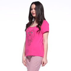 Summer comfortable cotton household clothing cartoon cat short sleeve T-shirt plaid pants pajamas su 8027 cherry red m
