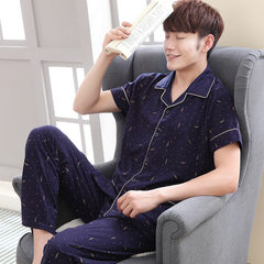 2018 new men`s short-sleeved trousers and cotton pajamas large size home wear Korean version lapel c G1242 Male money; M yards