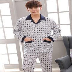 Factory direct sale spring and autumn men`s pajamas long sleeve pure color cotton comfort young and  Little bear l