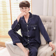 New style men`s and women`s pajamas: long-sleeved silk pajamas, imitation of silk sexy home clothes Men`s length - navy blue m