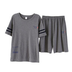 Pyjamas men summer short sleeve middle trousers pure cotton youth thin sport style comfortable breat 33008 ash l
