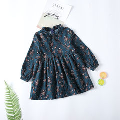 18 spring new girl Korean version of pure cotton long-sleeve lotus leaf edge floral bow dress in the Dark green 100 cm