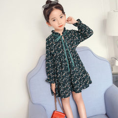 Spring and summer new girl Korean version of chiffon lotus leaf edge floral bow dress in the little  Dark green 100 cm