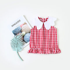 Amur children`s wear children`s baby cotton tartan lace skirt 2018 summer flip sleeveless baby dress red 80 cm