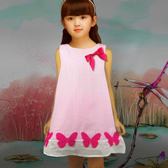 Children`s skirt Europe and the United States children`s dress girl`s dress pure cotton bowknot chil red 100/2 y