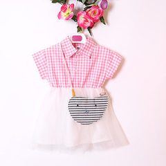 2018 summer new baby girl dress children`s dress Korean version of checked kitten collared stripe sa pink 80 cm