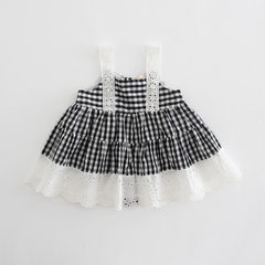 Idea children`s wear 2018 summer new style sling skirt wholesale baby cotton plaid children`s skirt  Black and white case Please take multiples of 5 for each hand of 74cm-98cm/1