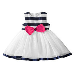 2017 aliexpress ebay amazon hot style new children`s skirt stripe tie bowknot gauze skirt a hair The picture color 3 y