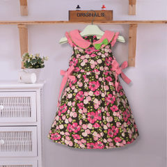 Hot selling girl`s dress autumn and winter new cotton bowknot broken flower children`s skirt a subst Design and color 100/2 y