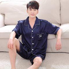 夏季新款韩版仿真丝情侣睡衣短袖男士女士开衫V领丝绸家居服套装 深蓝色-男款 M