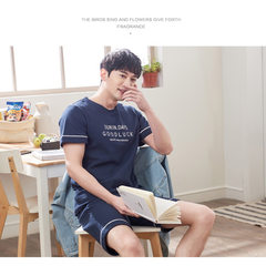 The new style lovers` pyjamas for summer in youth, Korean version of pure cotton men`s and women`s h Dark blue m