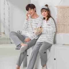 Autumn and winter new style lovers pajamas long-sleeved pure cotton stripe fresh round collar all-co 6818 Female m.