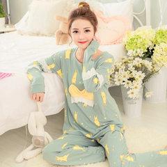 [nan fen] pure cotton girls` pajamas in spring and autumn, Korean version of elf long-sleeve pajamas Elf suit m