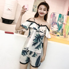 2018 summer new style condole belt one character to lead the home to wear suit female ice silk print FZJ884 rice white m