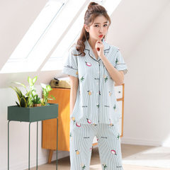Summer new cotton short sleeve 7 minutes pajama two pieces of striped Korean version of sweet home w 8118 female m