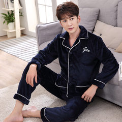 Yanman winter new flannel lovers pajamas thickened men`s Korean version of women`s home wear suite t Men`s wear (navy blue) l