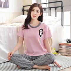 Cotton lovers pajamas wholesale summer men`s short-sleeved trousers pajamas women`s summer Korean ve G1631 Female money; M yards