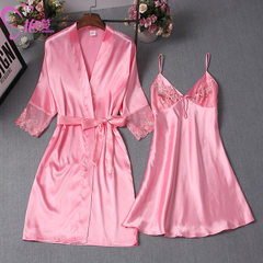 Gorgeous spring and summer new products women simulation silk sling sexy sleep skirt robe two sets o Melon red l