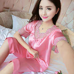2017 new silk pajamas for women fall I pajamas summer short sleeve suit silk big size spring and aut Watermelon red m