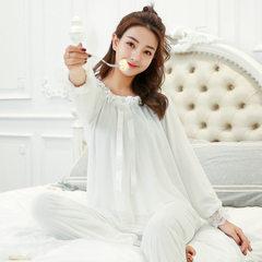 韩版纯棉蕾丝睡衣女春秋季长袖宫廷复古公主可爱女士家居服套装 890白色 S