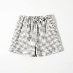 Summer pure cotton gauze pair shorts household pajamas women loose casual large yard Japanese pajama Blue, m