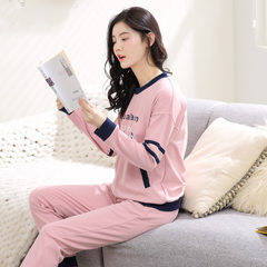 Spring new Korean version of cotton ladies pajamas lovely cartoon print round collar suit long-sleev The picture color m