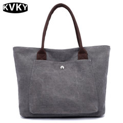 Canvas bag women`s fashion new women`s pure color cloth bag with a casual tote bag Rice white