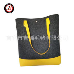 Felt handbag manufacturer customized fashionable lady felt handbag single shoulder bag shopping bag  yellow