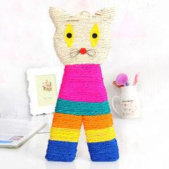 天然剑麻绳编织抓板猫头型卡通磨抓板宠物猫咪磨爪板猫玩具猫抓板 如图 见描述