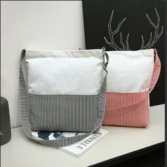 Art Korean version of ins one-shouldered Korean original style ulzzang simple cloth bag oblique span White with red