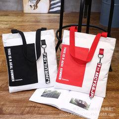 直销个性韩版字母撞色铁环飘带托特购物袋学生单肩女包帆布包包邮 铁环白色红飘带