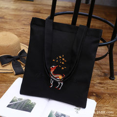 Manufacturer Korean version single-shoulder hand embroidery canvas bag wholesale arts and arts schoo Deer white canvas
