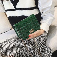 New Europe and America stone grain small square bag fashionable croc grain inclined slanting small b red