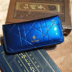 Direct selling high - class temperament women`s oil skin purse with European and American style tall blue