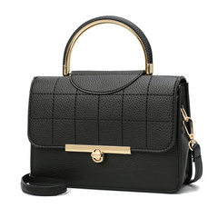 Manufacturer wholesale 2018 new Europe and the United States fashionable female bag grid embroidery  black