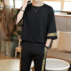 Corbidden spring/summer 2018 new Hong Kong style men`s T - shirt set with round neck set and pure co white xl