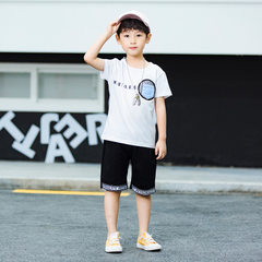 Children`s casual summer suit for boys, two pieces of children`s cotton T-shirt with round neck, new white 100 cm