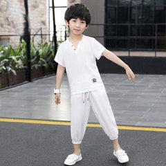 Children`s summer suit, Korean version, 2018 new boys` cotton and linen short-sleeved two-piece suit white 110 cm