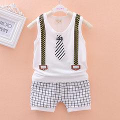 2018 summer children`s wear boys` baby casual shorts baby suit Korean version pure cotton baby vest white 80 cm