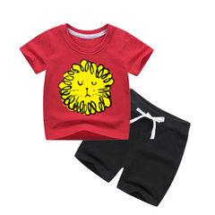 Children`s short-sleeved suit cotton T-shirt sports suit boys` summer leisure two pieces of half-sle Red + black lion short suit 80 yards /80cm/6-12(month)