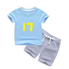 Summer 2018 children`s short sleeve suit cotton T-shirt boys` casual sportswear 3-6 years old girls` Blue + grey 17 number short T suit 120 yards /120cm/4-5 years old