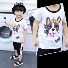 2018 summer new south Korean version of children`s dog head suit children leisure sports short sleev white 110 cm