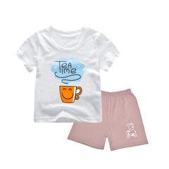 Men`s short sleeve T-shirt children`s suit summer clothes boys` 2018 new summer cartoon children`s w yellow 90 cm