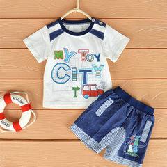 Mini baby 2018 children`s suit summer new cotton boy summer suit baby short sleeve suit blue 73cm90cm100cm monochrome 6 pieces in size