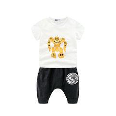 2018 new boys` short-sleeved T-shirt sports suit summer two-piece children`s summer wear Korean vers white 100 cm