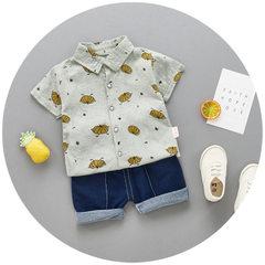 Summer 2018 new boys` 100% cotton short-sleeved shirts two-piece Korean casual pumpkin shirt set man white 80 cm to 110 cm / 1 hand 4 pieces