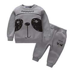 New style of children`s headwear children`s headwear boys and girls to grasp the fleece baby suit ma M10142 gray 80 cm