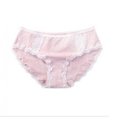 Women`s underwear women`s seamless cotton crotch in the waist combed cotton lace sexy women`s briefs 6428 pink m